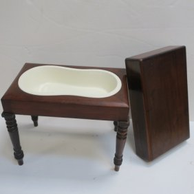 Porcelain Lined Standing Mahogany Commode: