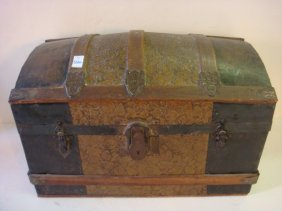 Small Metal Clad Dome Top Trunk: