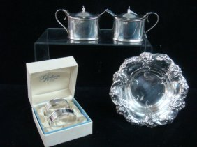 Sterling Silver Mustards, Napkin Rings And Dish: