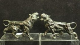 Pair Of Bronze Standing Lions: