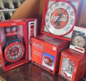 Coca-cola Nostalgic 3 Clocks, Thermometer & Telephone: