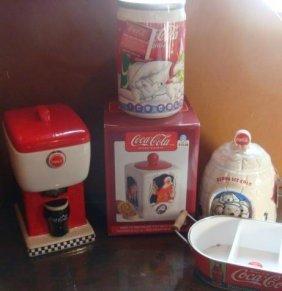 Four Coca-cola Nostalgic Ceramic Cookie Jars & More: