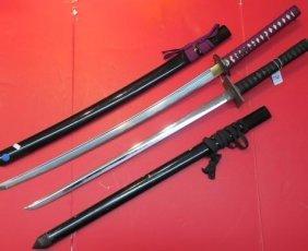 Two Shinsakuto Oriental Japanese Katana Swords: