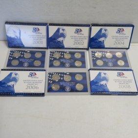 Nine Us Mint State Quarters Proof Sets 2000-2008
