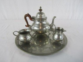 C80-9  PEWTER TEA SET WITH TRAY