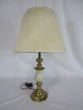 C80-17  BRASS & MARBLE TABLE LAMP