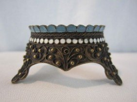 A44-21  RUSSIAN SILVER & ENAMEL EGG STAND