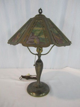 A45-27  SIGNED PAIRPOINT REVERSE PAINTED LAMP