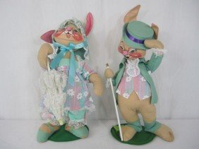 D31-17  SET OF TWO VINTAGE ANNALEE EASTER DOLLS