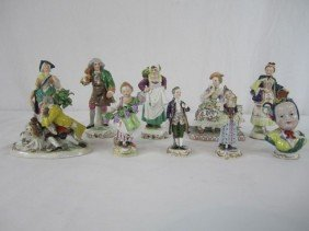 A44-147  LOT OF 10 ANTIQUE DRESDEN FIGURINES