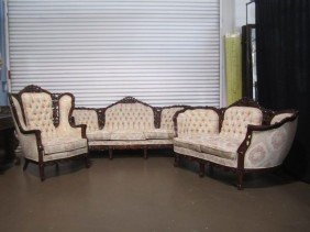 C11-1  CARVED SOFA, LOVESEAT & CHAIR SET