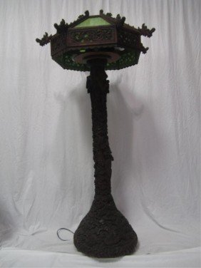 A45-1  CHINESE CARVED TEAK FLOORLAMP