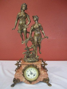 F24-7  GILT METAL & MARBLE CLOCK