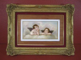 A55-6  GERMAN HAND PAINTED PORCELAIN PLAQUE
