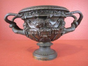 A55-9  FRENCH GRAND TOUR PATINATED BRONZE URN