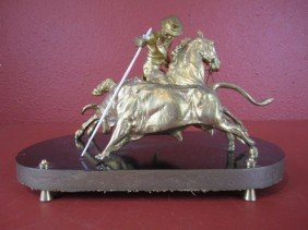 A55-18  GILT BRONZE & IVORY BULL FIGHTER GROUP