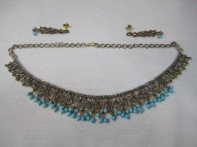 A27-19  TURQUOISE RUBY DIAMOND NECKLACE & EARRING