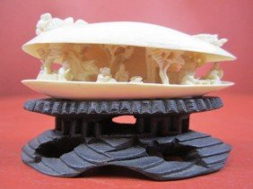 E22-15  CHINESE IVORY CARVED CLAM SHELL