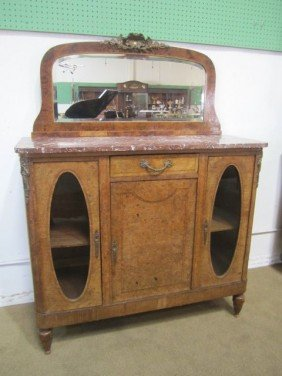 A3-1  ANTIQUE MARBLE TOP SERVER WITH MIRROR