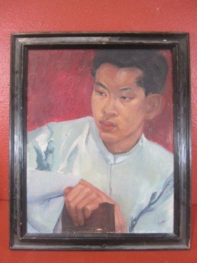 "A45-22  SIGNED ""LING"" OIL ON BOARD"
