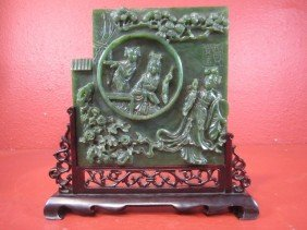 A11-6  OLD CHINESE SPINACH JADE CARVING