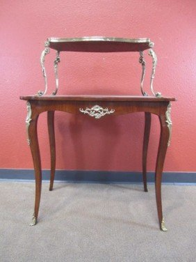 A11-154  TWO-TIER MARQUETRY & PARQUETRY TABLE