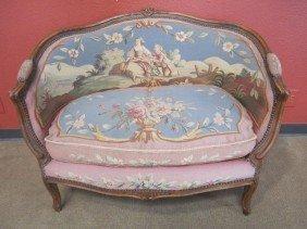 A11-163  ANTIQUE AUBUSSON LOVE SEAT