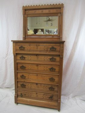 E33-8  EASTLAKE 6 DRAWER CHEST WITH MIRROR