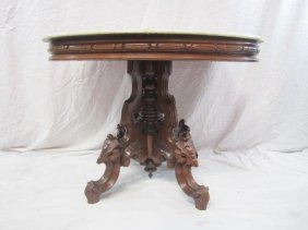 E33-11 OVAL CARVED MARBLE TOP PARLOR TABLE
