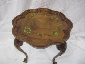 E33-15  CARVED PAINTED OCCASIONAL TABLE