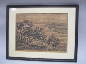 A45-65  BIRGER SANDZEN WOODBLOCK DATED 1927