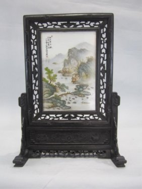 A66-13 TABLE SCREEN WITH PORCELAIN PLAQUE