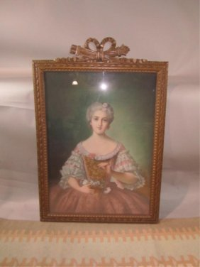 H18-50  PORTRAIT OF A LADY WITH FLOWERS