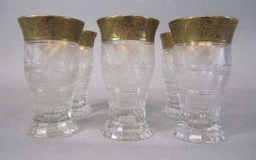 H80-198  SET OF 6 MOSER SPLENDID GOLD TUMBLERS