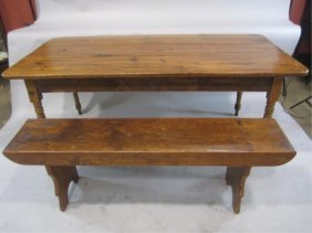 H38-2  ANTIQUE PINE TABLE WITH BENCH