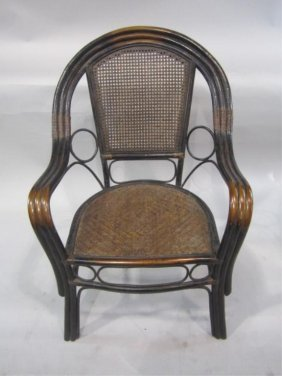 H38-5  CHINESE RATTAN CHAIR WITH CANE SEAT & BACK