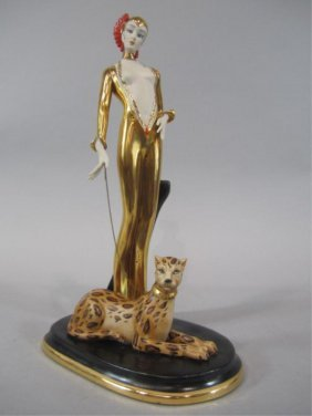 H25-105  PORCELAIN LADY WITH TIGER STATUE