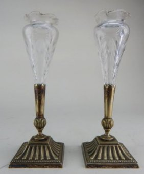 Pair Of Etched Crystal And Silver Plate Vases