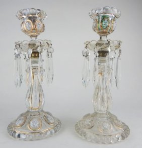 Pair Of 19th Century Baccarat Candle Holders