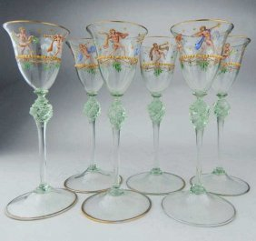 Six Enameled Venetian Murano Art Glass Stemware