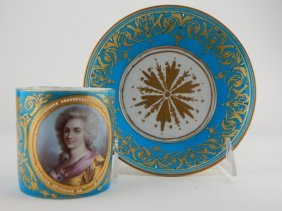 19th Century French Jeweled Porcelain Cup & Saucer