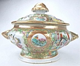 Chinese Rose Medallion Covered Serving Dish