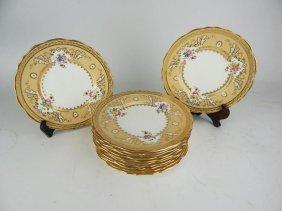 Twelve Cauldon England Porcelain Plates