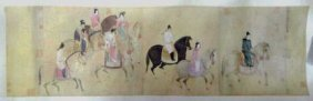 Chinese Print Scroll Of Figures On Horses