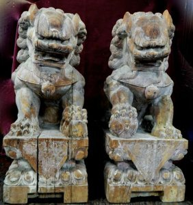 Large Pair Of Antique Chinese Carved Wood Foo Dogs