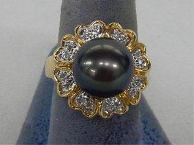 14k Gold Black So. Seas Pearl And Diamond Ring