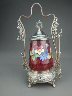 Benedict Victorian Coin Dot Glass Pickle Castor
