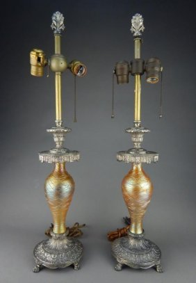 Pair A Durand Threaded Iridescent Art Glass Lamps