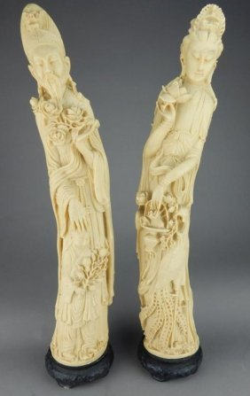 Cast Chinese Sculptures Of A Queen & King