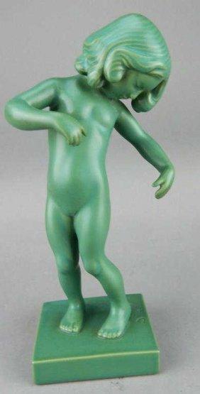 1910 Ipsen Danish Green Glazed Art Pottery Nude